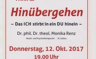 Hinübergehen - Das Plakat zum Hospiz- und Palliativforum mit Dr. phil. Dr. theol. Monika Renz, Universität St. Gallen